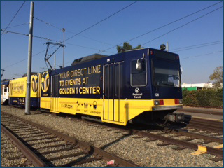Golden 1 center ad on train